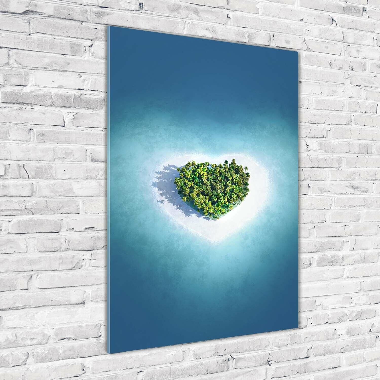 Wand-Bild Kunstdruck aus Acryl-Glas Hochformat 70x100 Herz Insel