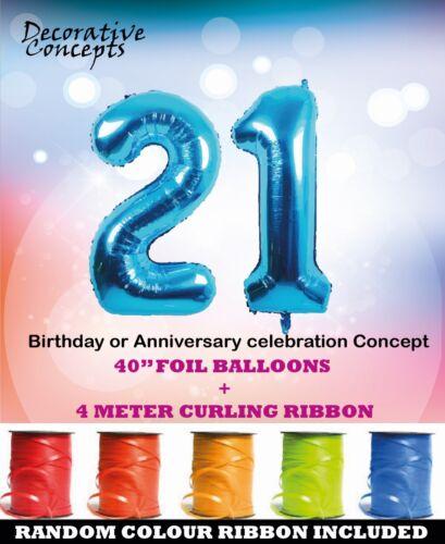 """Géant 21st Fête D/'Anniversaire 40/"""" Foil Balloon avec Curling Ruban 21 Ans Bleu"""