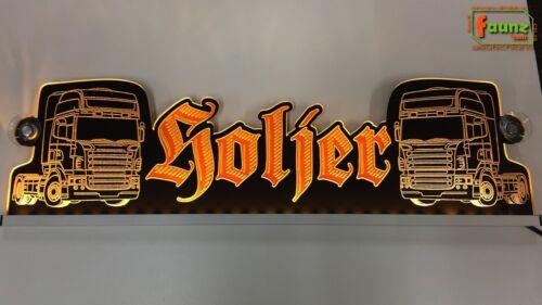 "Wunschname Truck 12//24V orange Großes LED Leuchtschild Namensschild ""Holger"" o"
