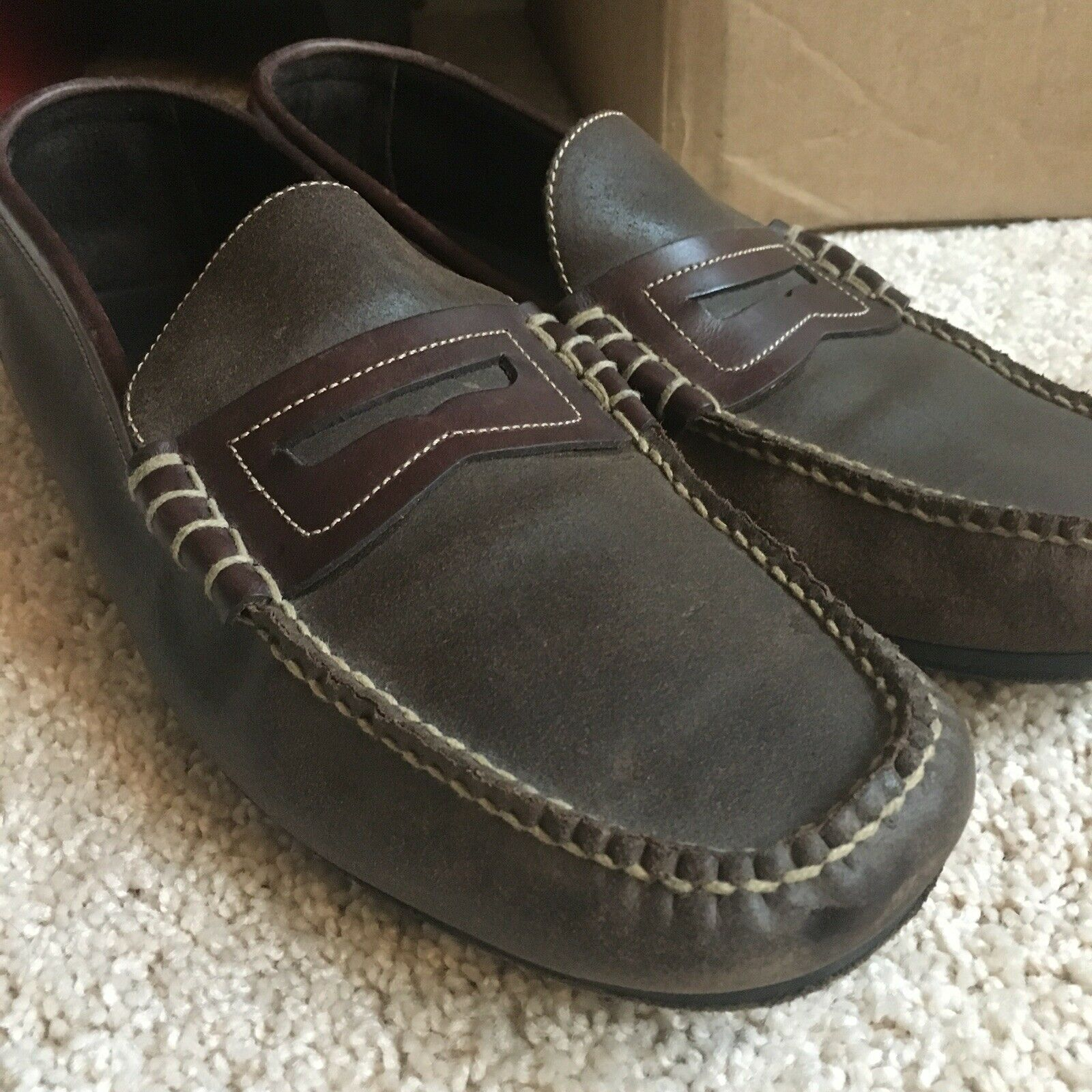 Cole Haan Brown Leather Slip On Loafers shoes Size 13 Medium Casual