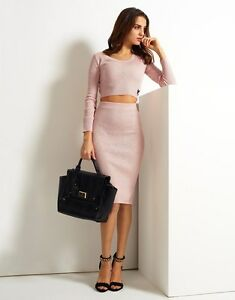 NEW LADIES EX LIPSY RIBBED HIGH WAIST PINK PENCIL SKIRT OFFICE ...