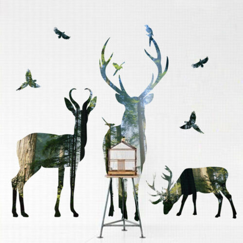 CW/_ KQ/_ Deer Forest Wall Sticker Mural Decal DIY Removable PVC Art Home Decor Ey