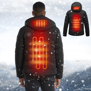 Mens Winter Electric Battery Heating USB Outdoor Thermal Hooded Jacket Warmth