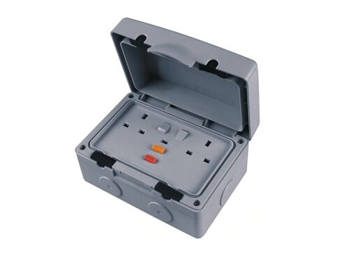 RCD Double Socket IP66 Weatherproof 2 Gang 13A switched Socket IPRCD