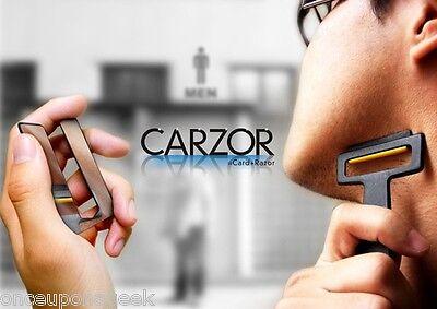 Carzor Wallet Portable Credit Card Shaver Razor Blades & Mirror Black
