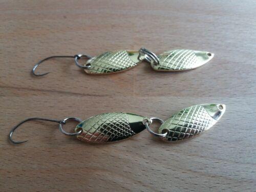 Zwei Doppel Spoon super Forellenblinker einzigartig ca 4 Gramm sehr fängig....