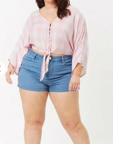 Cropped Tie Front Pink White Checkered Plaid Top Plus Size 1X NEW Forever 21