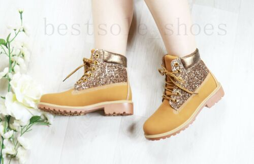 LADIES WOMENS GLITTER ANKLE BOOTS ARMY COMBAT FLAT GRIP SOLE WINTER SHOES SIZE