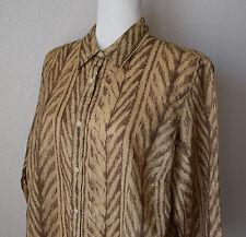 LAUREN RALPH LAUREN Shirt 100% Linen Brown Print Button Up 3/4 Sleeve Sz 1X Plus