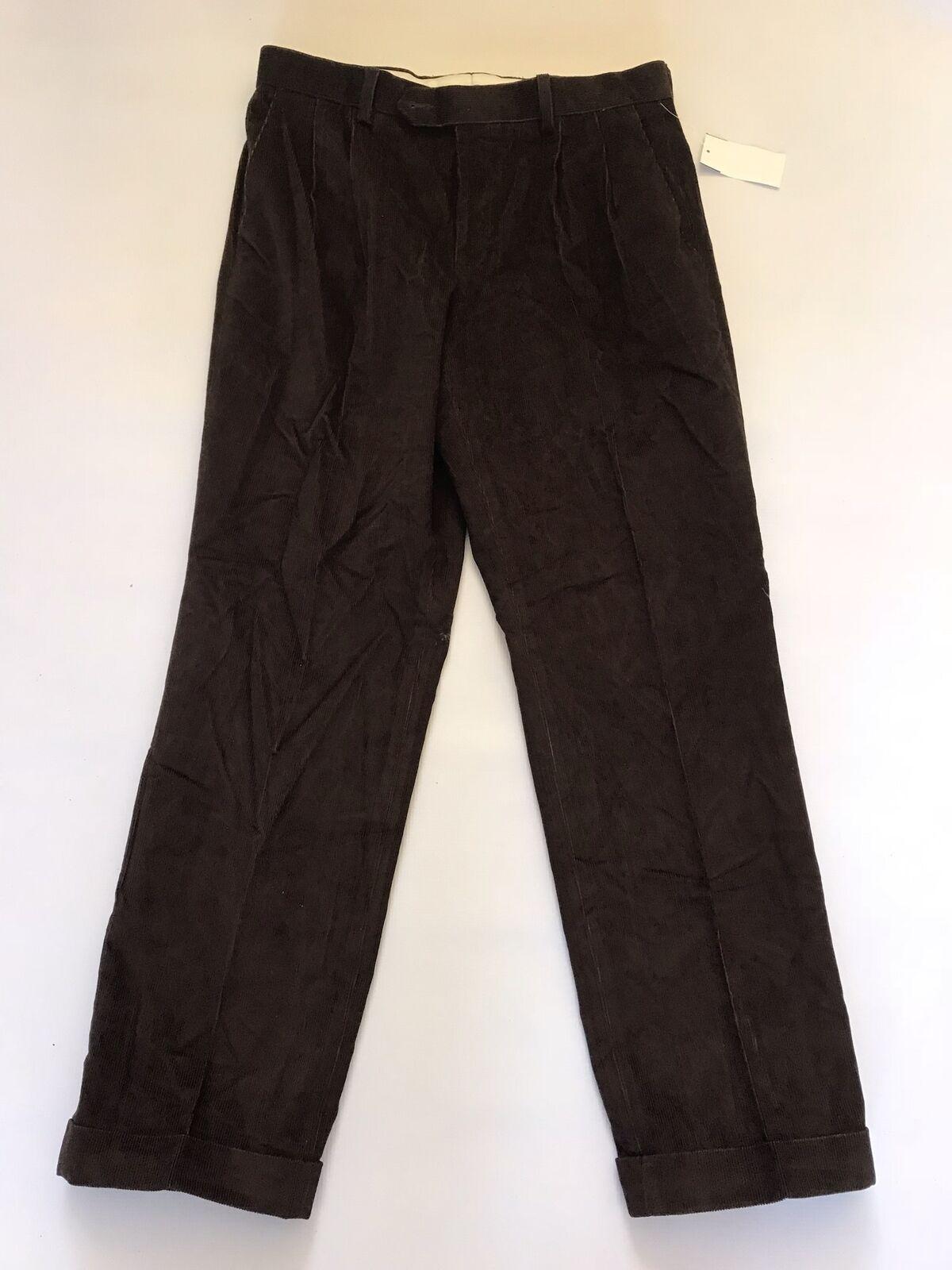 Lauren Ralph Lauren Pleated Corduroy Cuffed Dress Pants Brown Mens 34x32 New