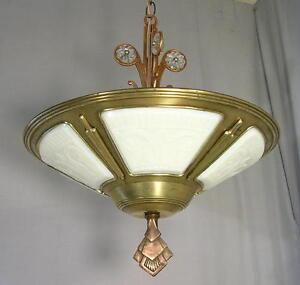 Antique 1920s art deco 5 slip shade chandelier brass ceiling light antique 1920 039 s art deco 5 slip aloadofball Gallery