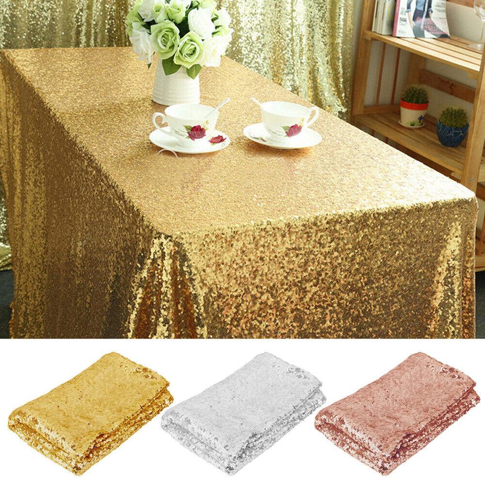 Rectangle Sequin Glitter Xmas Table Cloth Banquet Wedding Party Decor Home Cover