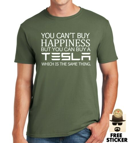 3XL Tesla T-shirt Can/'t Buy Happiness Funny Men/'s Elon Musk Car Gift Tee Top S
