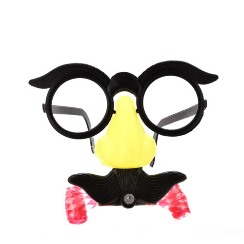2x Funny Clown Glasses Costume Ball Round Frame Red Nose w//Whistle Mustache S/&K
