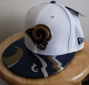 f2849e4b1f5 Rams White Hat NFL New Era LA 59FIFTY Cap Los Angeles Logo Patches ...