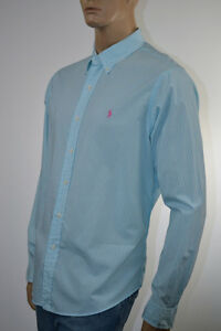 RALPH-LAUREN-Classic-Fit-Turquoise-amp-Blanc-a-Rayures-Chemise-a-manches-longues-poney-Neuf-avec