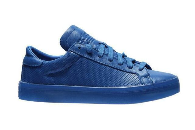 official photos 53a9d a8e9a Mens ADIDAS COURTVANTAGE ADICOLOR Blue Leather Trainers S80252