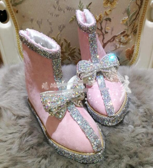Women Shining Snow Winter Boots Rhinestone Bowknot Sweet Mid Heel shoes Suede