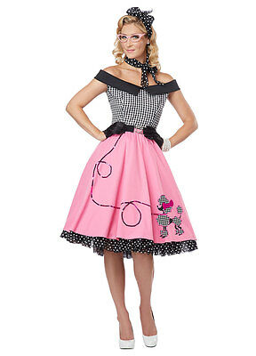 LADIES WOMANS ROCK AND ROLL 1950'S GREASE DRESS PINK LADY COSTUME SIZE 14/16