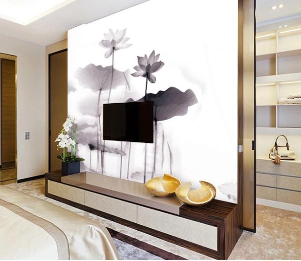 3D Tinte Lotus Malerei 577  Tapete Tapeten Mauer Foto Familie Tapete Wandgemälde