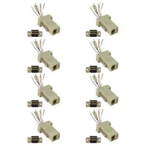 8 wire Modular Adapter Ivory DB9-Male to RJ45