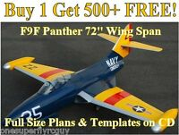 F9f Panther 72 Giant Scale Rc Airplane Plans & Templates On Cd In Pdf Format