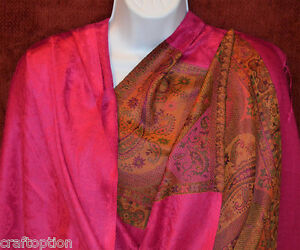 Paisley-All-over-and-border-Pashmina-Silk-blend-Shawl-Stole-Wrap-from-India