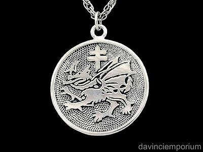 Sterling Silver Order of the Dragon Pendant Necklace Vlad Dracula