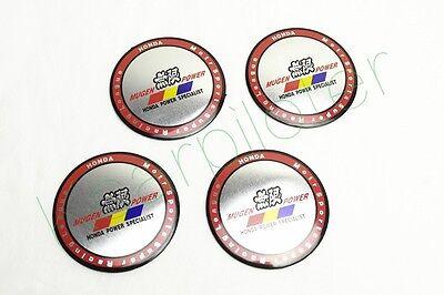 4Pcs New Silvery Red Aluminum Mugen Power Wheel Center Hub Caps Stickers Emblems