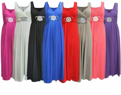 Womens Ladies Plus Size Maxi Buckle Bridesmaid Party Cocktail Sleeveless Dress
