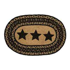 New Primitive Country BLACK STAR Tan Jute Braided Table Doily Candle Place Mat