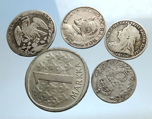 GROUP-LOT-of-5-Old-SILVER-Europe-or-Other-WORLD-Coins-for-your-COLLECTION-i74386