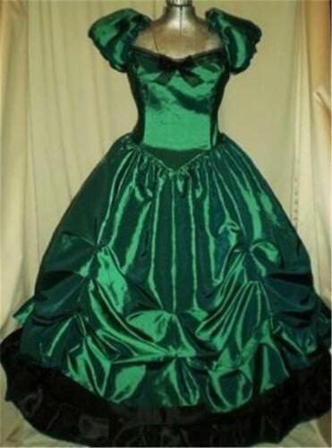 """Southern Belle Civil War SASS Old West Ball Gown Dress Emerald Green 32/"""" Bust"""