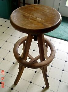 Cool Details About Arts Crafts Antique Oak Swivel Seat Drafting Architects Stool Caraccident5 Cool Chair Designs And Ideas Caraccident5Info
