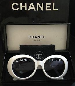 b6a1feca0e5d ONLY ONE! 100% RARE ICONIC CHANEL PARIS White Round Sunglasses ...