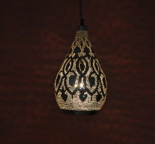 Handcrafted Moroccan Silver Plated Brass Hanging Lamp Light