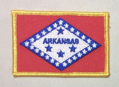 Arkansas State Flag Patch W//Gold Border Embroidered Iron On