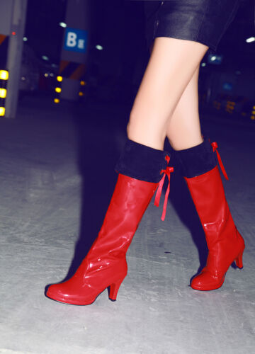Ladies Pole Dance Shoes Synthetic Leather High Heel Over Knee Boots UK Size b112