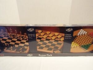 Wooden-Bonus-Pack-Games-Chess-Checkers-Tic-Tac-Toe-Chinese-Checkers-Pavilion-NIB