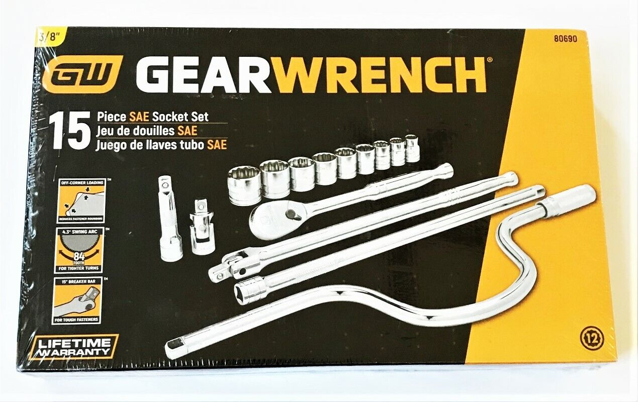 GEARWRENCH 15pc PROFESSIONAL SOCKET RATCHET SET 3 8  DR SAE FULLY POLISHED 80690