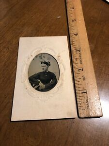 Antique Civil War Era Victorian Women  Tintype Tin Type Photo Photograph Vintage