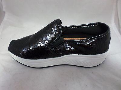 Black Sequinned plataforma Slip on UK 2.5 EU 35 LN04 87