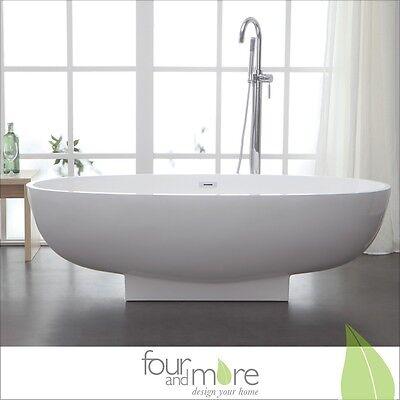 Freistehende Design Badewanne aus Mineralguss, Composite Stone 169 x 79 cm