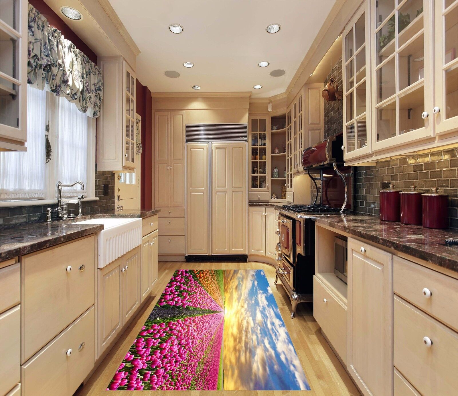 3D Tulips Sunset Kitchen Mat Floor Murals Wall Print Wall Deco AJ WALLPAPER AU