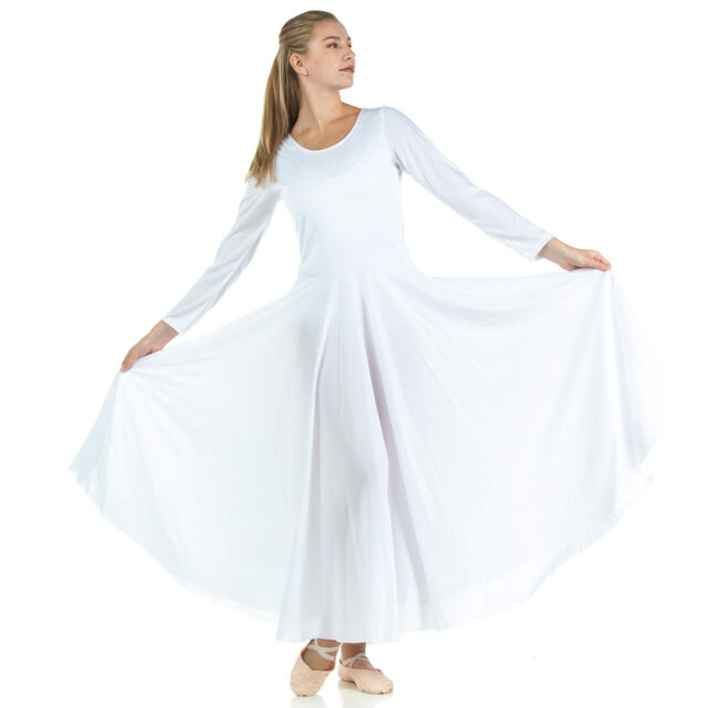 bc8dc62086630 Danzcue Womens Praise Loose Fit Full Length Long Sleeve Dance Dress ...