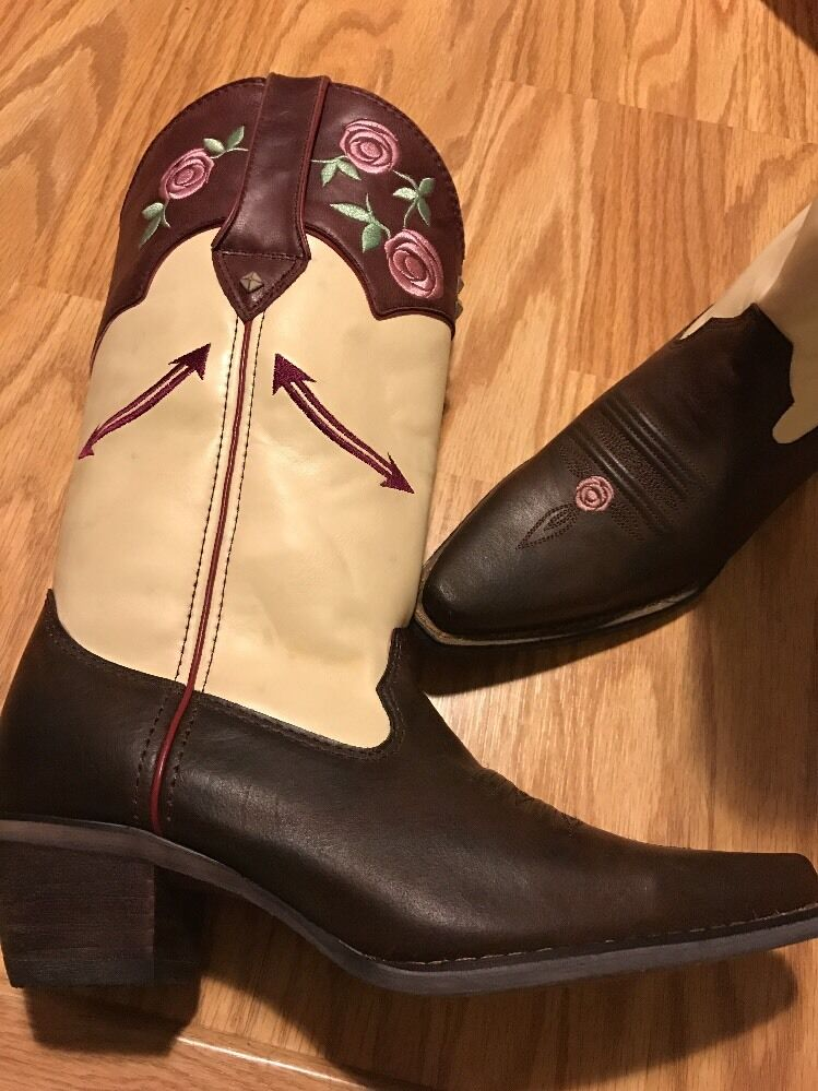 Durango Crush Cowgirl Western Brown Burgundy Cream Floral Roses Boots Womens 7 M