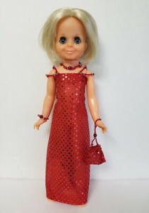 VELVET-DOLL-CLOTHES-Beaded-Red-Shimmer-Gown-Purse-amp-Jewelry-Fashion-NO-DOLL-d4e