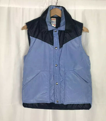 Vintage 70s Frostline Down Vest Men's Small Blue