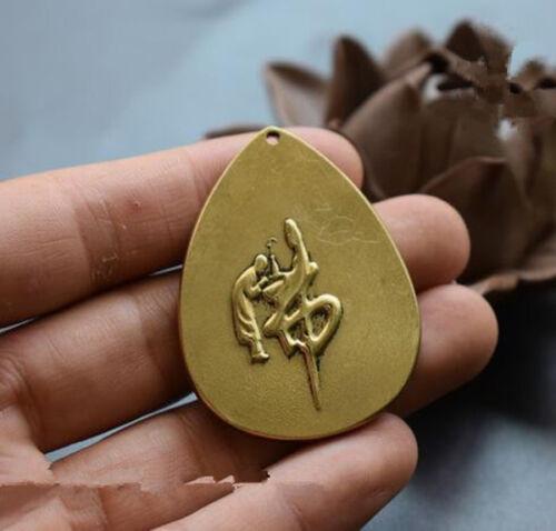Chinese Hand Carved Pure Brass Manjusri Bodhisattva Buddha Copper Small Pendant
