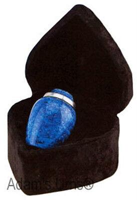 "Cobalt Blue Alloy 3"" Size Funeral Cremation Urn Keepsake with Velvet Heart Box"
